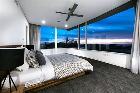 bedroom with glass walls stylish modern home in perth australia