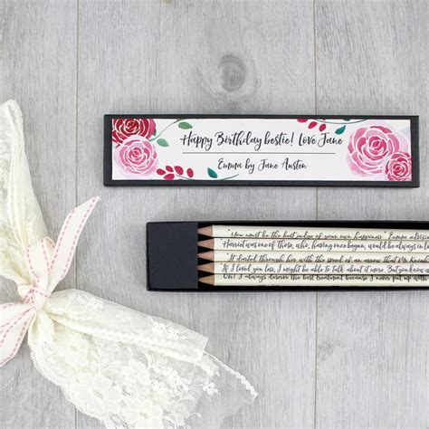 Handmade Gifts Ireland - personalised quote pencils austen gifts for