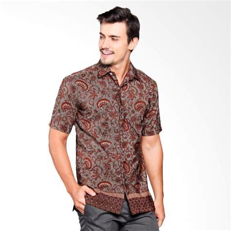 Kemeja Pria Slimfit Lengan Pendek Maroon jual batik heritage royal sayap garuda slim fit