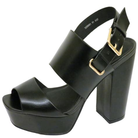 2 sandal heels womens black platform chunky block heel peep toe sandals