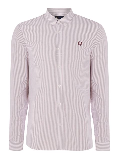 Sleeve Pinstripe Shirt fred perry sleeve pinstripe shirt for lyst