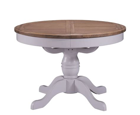 everette two tone round extending dining table kitchen