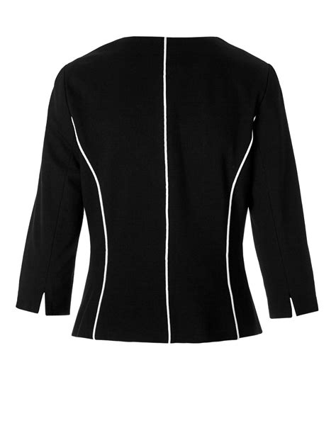 Blazer Zipper Black B black 3 4 sleeve zipper blazer cleo