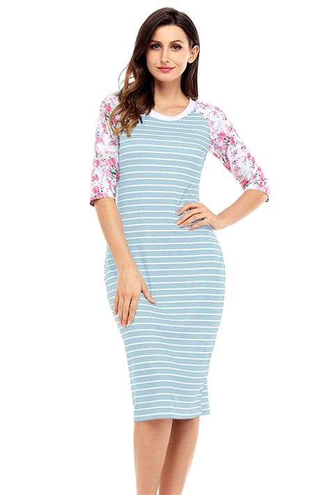 Striped Sleeve Midi Dress cheap blue white stripe floral sleeve midi dress