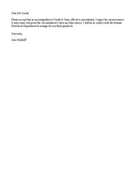 resignation letter samples effective immediately