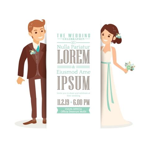 Wedding Invitation Vector by Wedding Invitation With A And Groom Vector