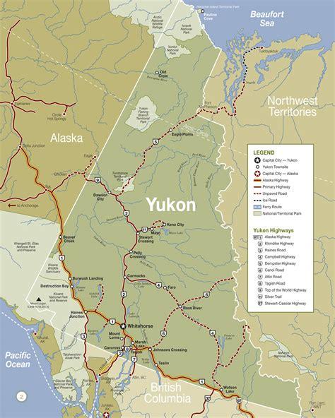 yukon map yukon maps travel columbia