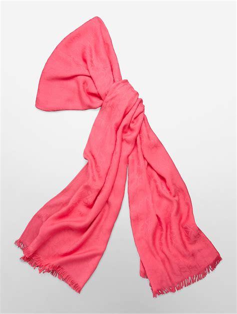 calvin klein white label ck logo pashmina scarf in pink lyst