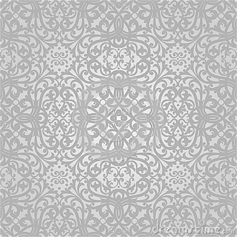 grey victorian pattern vector seamless pattern with swirls and floral motifs in