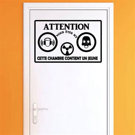 stickers porte chambre sticker porte citation attention cette chambre stickers