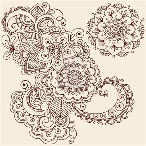 hand drawn intricate abstract flowers and mandala mehndi