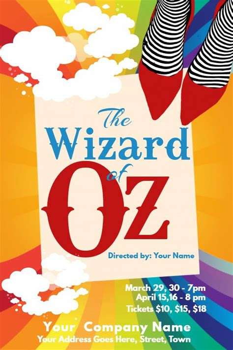 wizard of oz templates wizard of oz play poster template click to customize