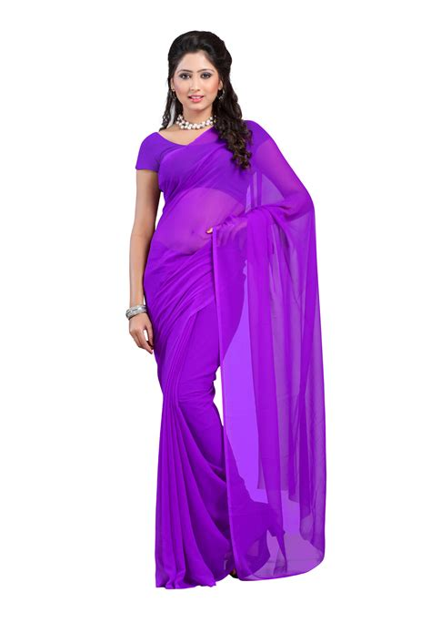 violet colored shop dyefab violet colored 60 gram georgette plain saree
