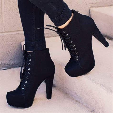 shoes booties heels black boots with laces black