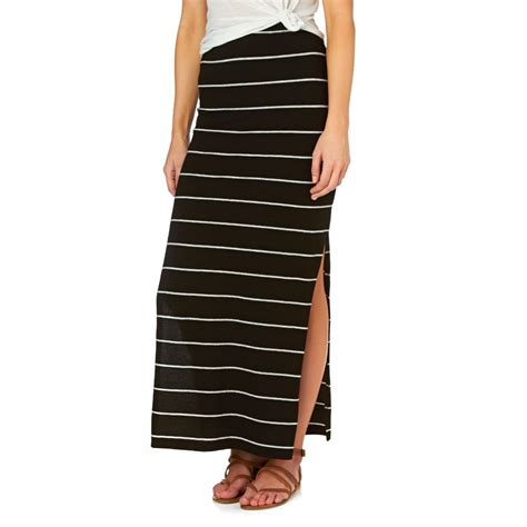 only abbie slit side maxi skirt thick black stripe