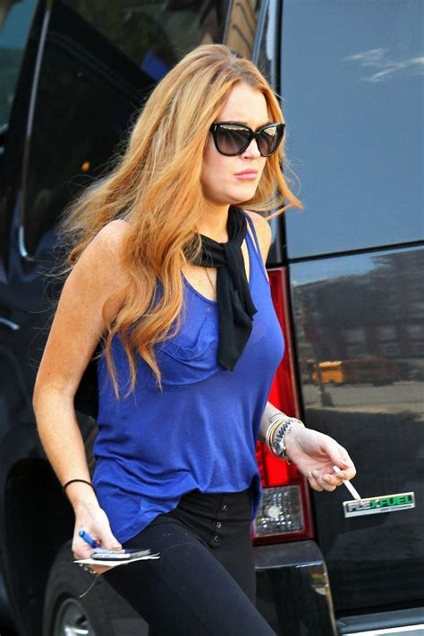 Lindsay Lohan Is Actually Wearing A Bra by Lindsay Lohan In Lindsay Lohan Does Some Banking Zimbio