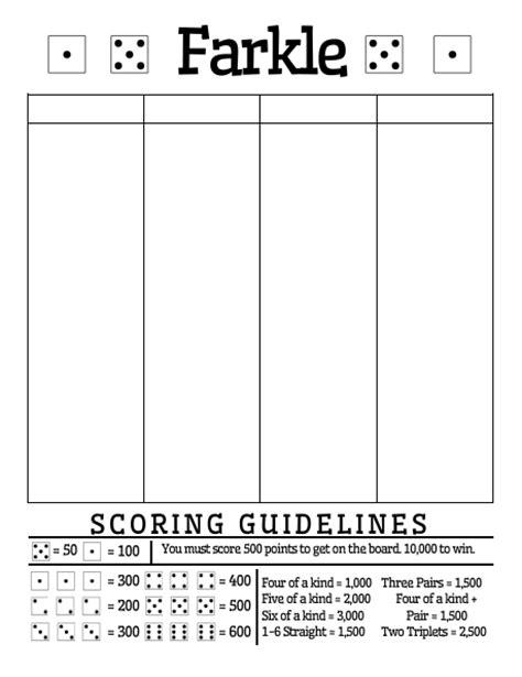 farkle score sheet math free printable farkle score sheet