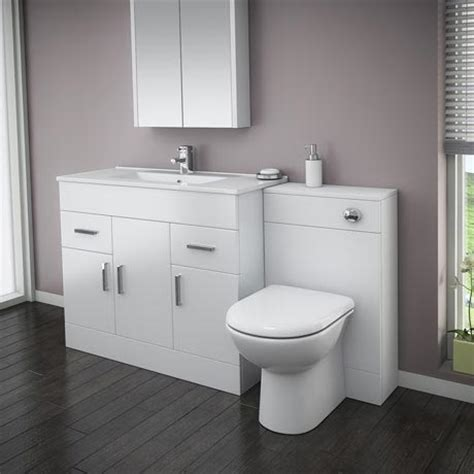Vanity Bathroom Suite Turin High Gloss White Vanity Unit Bathroom Suite W1500 X D400 200mm At Plumbing Uk