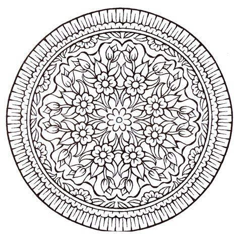 coloring pages of lots of flowers a mandala very vintage style with a lot of flowers