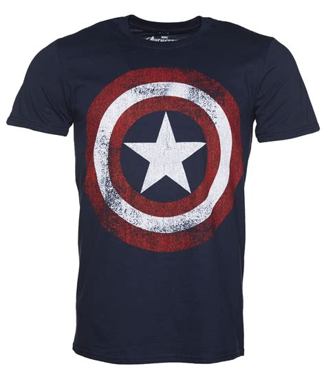 T Shirt Captain America Navy s navy marvel distressed captain america shield logo t