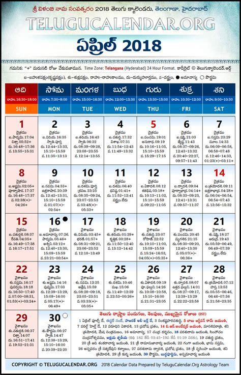 telangana telugu calendars  april