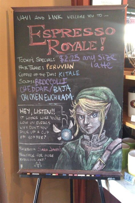 local coffee shop chalkboard menu almost too neat legend of zelda chalk art pic global geek news