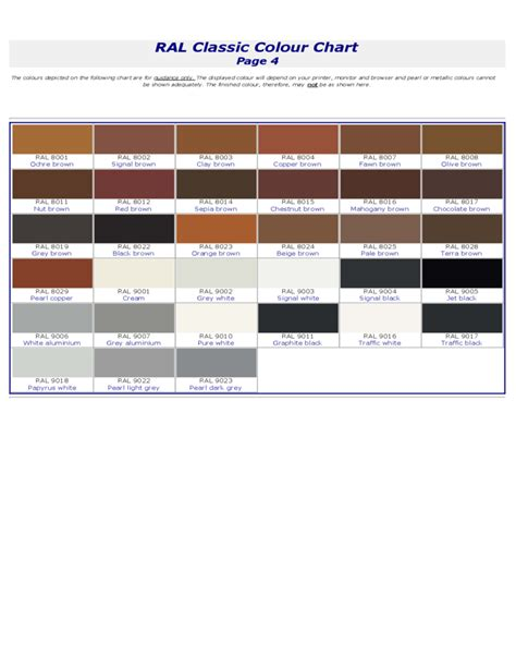 ral classic ral classic color chart free
