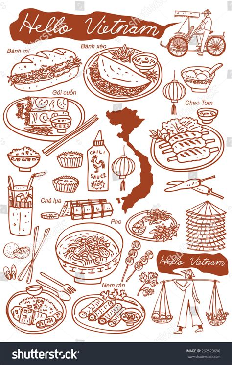 doodle viet nam set food doodles stock vector