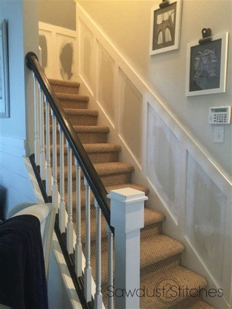 Wainscoting Up Stairs by Board And Batten In The Stairwell Sawdust 2 Stitches