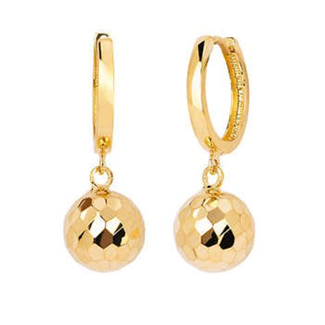 14kt yellow gold faceted drop earrings