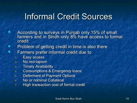 Describe The Sources Of Formal And Informal Credit In India agriculture pricing policy and agriculture credit by sir kb