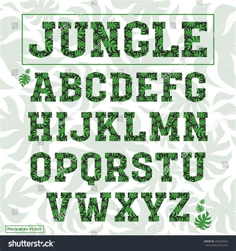 Decorative Serif Font by Serif Decorative Font Covered Palm Leaves Pattern Stock