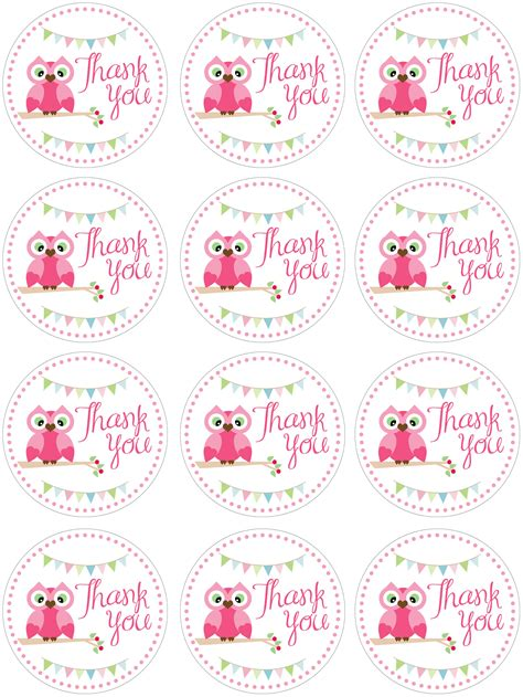 thank you card template baby shower tags owl birthday with free printables how to nest for