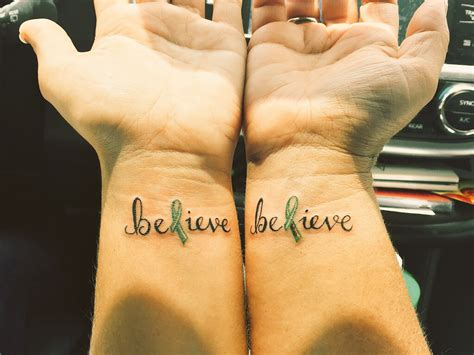 lymphoma tattoos designs my and i got matching believe tattoos the l is a