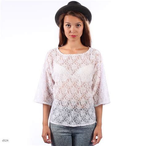 Blouse Batik Ninda White E sheer white blouse blue denim blouses