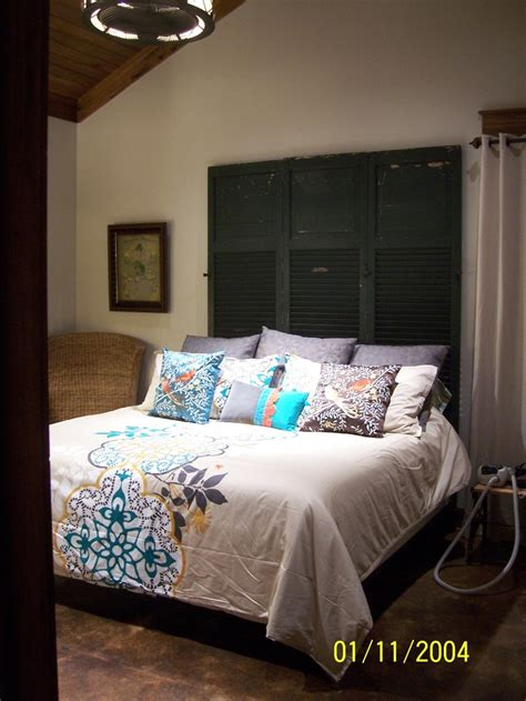 headboard cleats used some old salvaged exterior shutters added a wooden