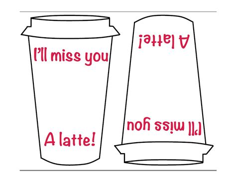 i you card template quot i ll miss you a latte quot template for the card
