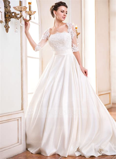Square Wedding Dress by Gown Square Neckline Court Satin Wedding Dress