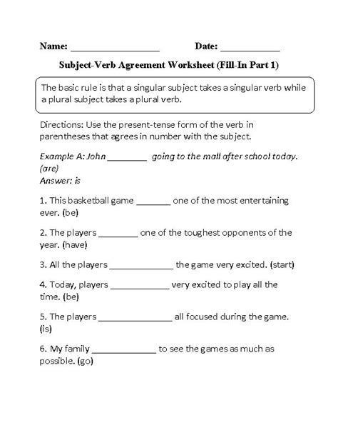 printable worksheets subject verb agreement fill in subject verb agreement worksheet ideas for the
