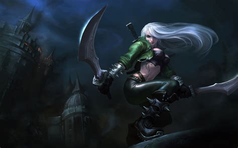 league  legends katarina girl white hair sword castle