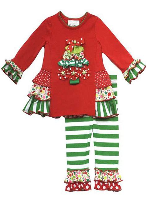 Ruffle Set 7 s knit top tree applique with