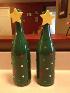 wine bottle christmas trees crafts pinterest