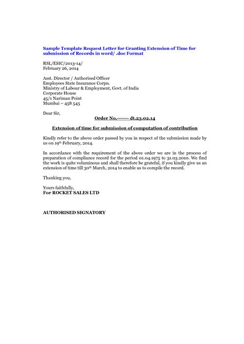 Request Letter Of Extension Dissertation Extension Request Letter