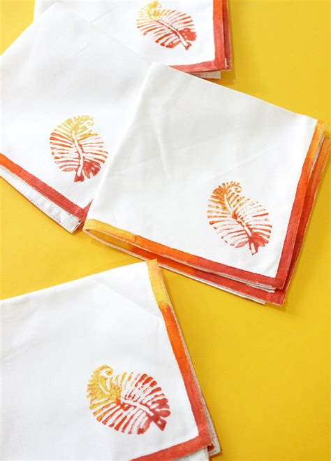 Handmade Napkins - handmade ombre block print napkins the craftables