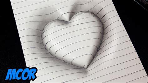 imagenes faciles para dibujar en 3d como dibujar un coraz 243 n en 3d con lineas dibujos 3d