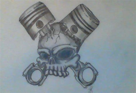 latest wings pistons and skull tattoo designs photo 3