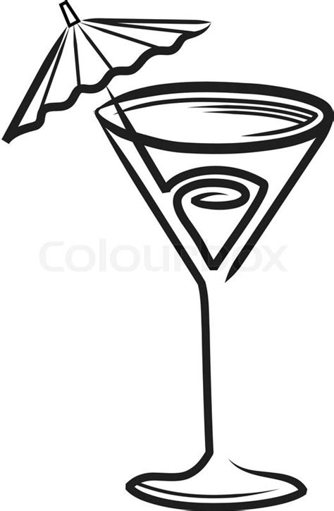 umbrella drink svg cocktail glass with umbrella clipart stock vector