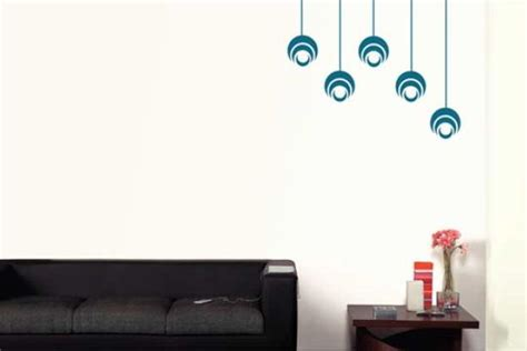 living room circles stencil in turquoise blue on lighter background blue colour family