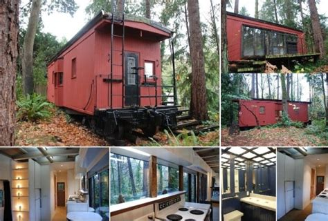 box car house old railroad boxcar converted into a tiny home home design garden architecture