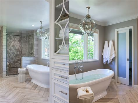 master bath in white traditional interiors bathrooms